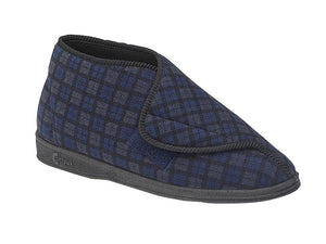 navy blue mens boot slipper with velcro