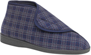 Navy plaid slipper boot with velcro strap