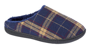 navy slip on slippers with yellow and red plaid