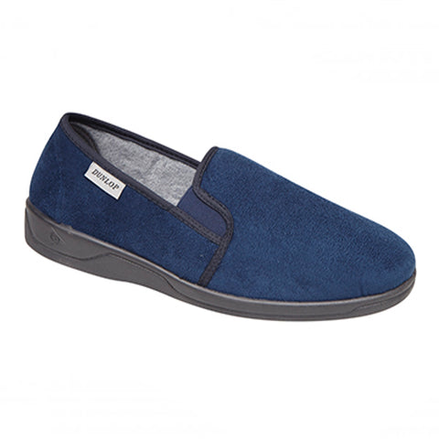 navy dunlop soft slipper with a rubber sole