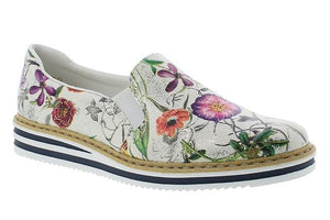 Rieker Ivory Ladies Slip-on Shoes with Flower Print