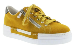 Yellow platform shoe with zip and lace closure