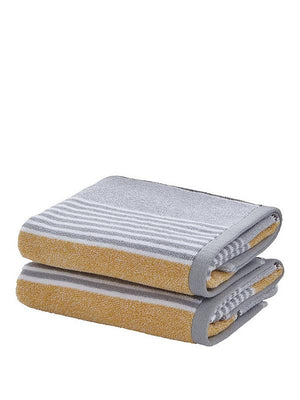 Yellow Stripe Towels 100% Cotton | Catherine Lansfield
