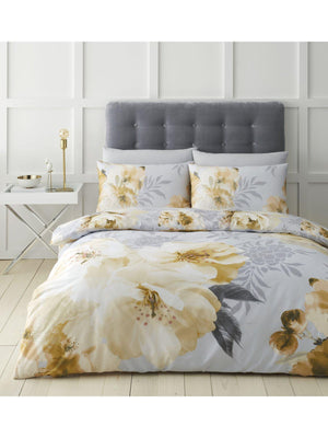 Catherine Lansfield Easy Care Floral Duvet Set dramatic floral Ochre