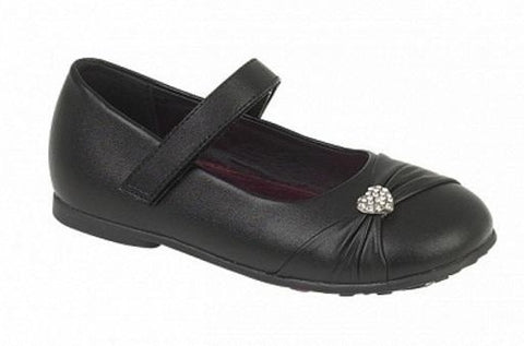 Girls Black School Shoe C794a