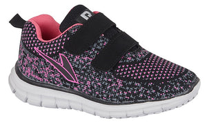 Black and pink runner with 2 velcro straps and white sole