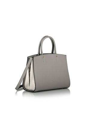 Grey and cream hand bag with a strap side view