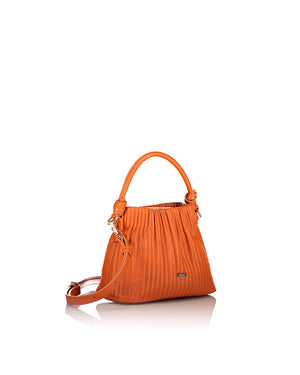 Orange handbag with shoulder strap side view