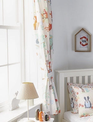children's curtains featuring fun & colourful woodland illustrations.
