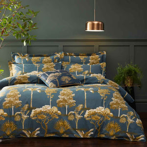deep blue duvet set with golden trees