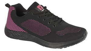black and pink mesh knit laced trainers with black sole