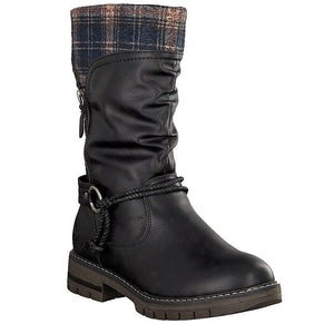 black boots with navy plaid cuff