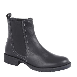 black leather chelsea boots ankle boots with black elastic panel and small chunky heel