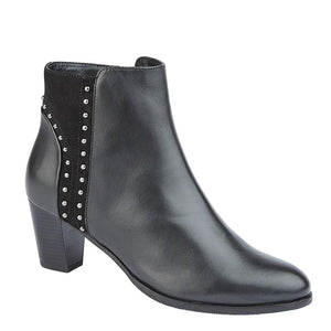black leather and suede heeled ankle boots with silver toned stud embellishments