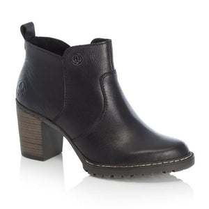 black leather ankle boots with a block heel