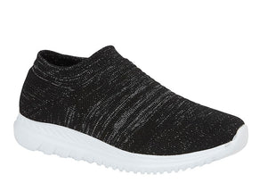 black and metallic silver stretchy knit sock shoe with white sole