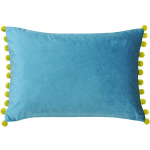 Rectangular cushion in a beautiful bright colour with a yellow pom pom trim on the short sides