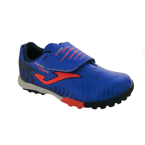 boy's Joma blue and neon orange astro turf runners with a large velcro strap