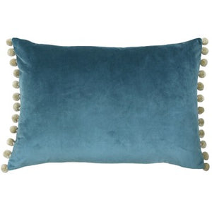 Rectangular cushion in a beautiful blue colour with pom pom trim.