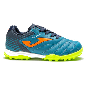 Blue laced astro turf runners from Joma with bright and sporty green and orange accents.