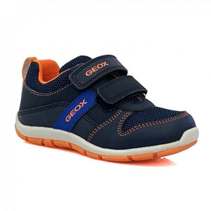 fun and practical boys trainer from Geox in a mix of navy mesh and leather complimented by vibrant orange accents.