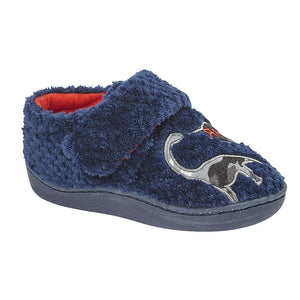 navy blue fluffy slippers with dinosaur and velcro strap