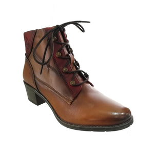 brown and red leather laced ankle boot with high heel