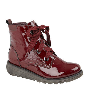 patent burgundy lace up ankle boots with chunky sole and thick laces