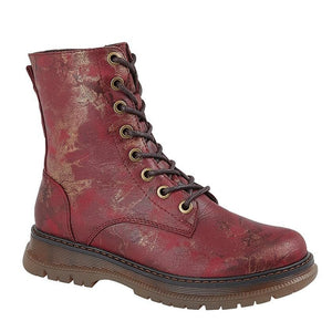 maroon lace up boots with bronze detailing