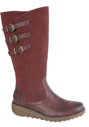 women's high leg burgundy boots with buckle details