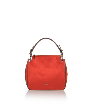 Handbag in a beautiful burnt orange faux suede with brown faux leather shoulder strap and piping.