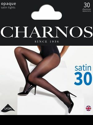 Charnos Opaque Black Satin Tights 30 Denier
