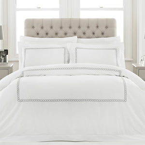 White Duvet Set with Silver Trim 100% Cotton paoletti cleopatra