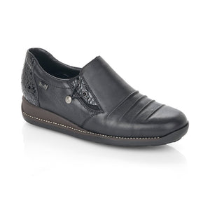black waterproof flat rieker shoe