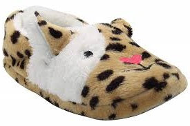 Brown animal slipper with black spots