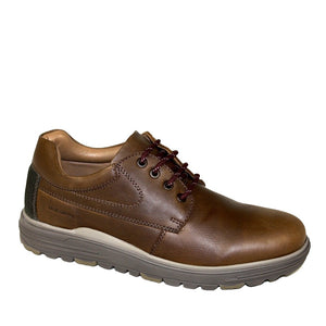 brown leather men's laced shoes with a thick hard wearing rubber sole