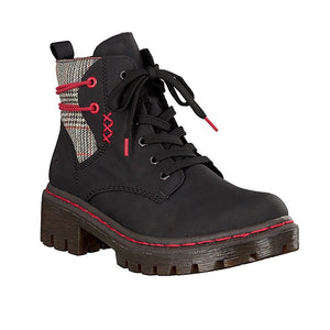 black lace up ankle boots with check panel and red detailing