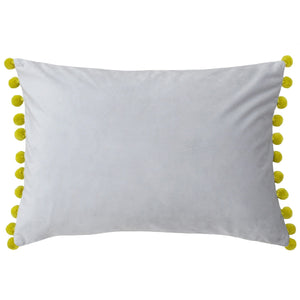 Rectangular cushion in a soft silver grey with yellow pom pom trim.