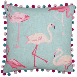 Duck egg blue with a cute pink flamingo print and a fun pom pom trim