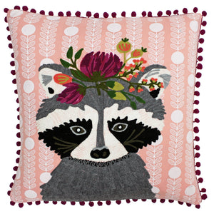 Funky Sloth Square Cushion Cover with Pom Pom Trim