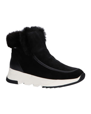 black suede ankle boots with faux fur cuff and white sole