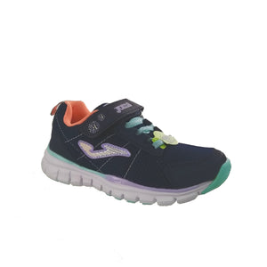 Navy lightweight runners from Joma with peach and teal details, featuring a velcro strap and bungee lace