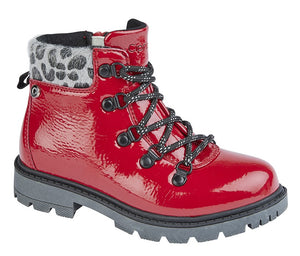 red patent hiking-style ankle boots with grey and black animal print ankle cuff