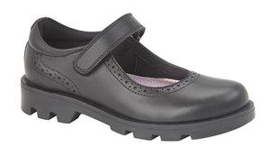 black leather mary jane girls shoes with velcro strap and chunky sole