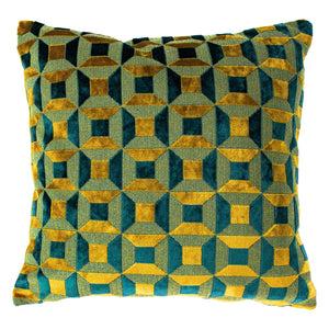 gold and teal geometric pattern cushion