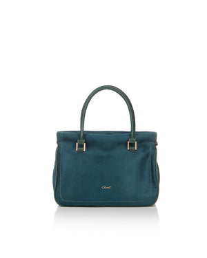 Beautiful faux suede bag in a gorgeous emerald green colour with green faux leather handles and piping and finished with gold hardware