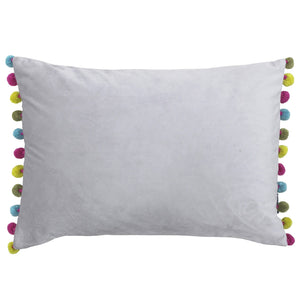 Rectangular cushion in a beautiful pale grey colour with a bright, multicolour pom pom trim on the short sides