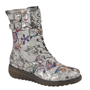 grey biker style laced boots with metallic floral print
