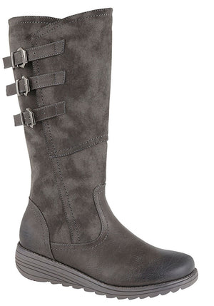 grey high leg boots with buckle detailing