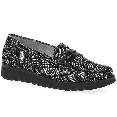 womens slip on leather shoe in black multi leather